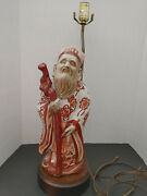 Vtg Mid Century Asian Style Chinese Wise Man Table Lam Clay Glaze Wooden Base