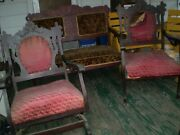 Three Pc. Antique Victorian Love Seat, Rocking Chair And Armchair