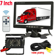 Ir Rear View Backup Camera 7 Hd Monitor Parking System For Truck Tractor Bus