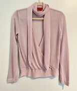 Missoni Tie Neck Metallic Long Sleeve Wrap Style Knit Top 40 S Pink Pre-owned