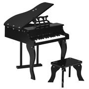 New Classic Baby Grand Wooden Piano 30 Key Bench Black/pink Kids Gift