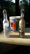 1 Pair Grey Goose Vodka Glass Salt And Pepper Shakers Recycled Bottles Gold Tops