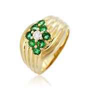 0.94ct Natural Emerald Ring Diamond Jewelry 18k Yellow Gold Retro Vintage Style