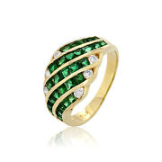 18k Jewelry 1.45cts Emerald Diamond Ring Yellow Gold Old Retro Vintage Ornament