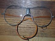 Scarce Antique Motorcycle / Aviation Goggles Wire Frame Eye Glasses