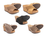 A. Giannetti Made In Italy Cross-band / Perforated Wedge Casual Sandals Leather