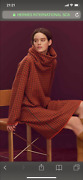 Auth Hermes Robe Col Amovible Size 34 Orange Brule 100 Cashmere New Np 3800