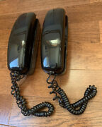 Vintage Spectra-phone Lot Of 2 Black Push Button Wall Or Table Phones Tl-4