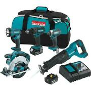 New Makita 18v Lxt Cordless 5-tools Combo Kit With Rapid Charger And Tool Bag