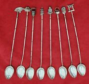8 Iced Teaspoons W/ 8 Different Asian Theme Decorations On End Of Handles 10812