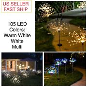 2pc 105 Led Firework Light Copper Wire Fairy String Christmas Party Decor Solar