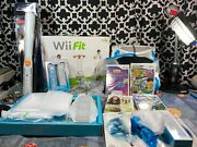 Wii Console Rvl-001 Wii Fit Wii Dance Pad Games And Accessory Bundle - Nwob