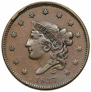 1837 N-17 R-4 Med Letters Matron Or Coronet Large Cent Coin 1c