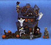 Ceramic Bisque Hand-painted Large Haunted House With Accessories