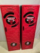 Lot Of 2 Vintage Chicago Bulls Nba 48andrdquo Tall Storage Locker Suncast With Decals