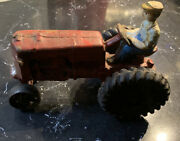 Antique Cast Iron Tractor With Rider Vintage Toy, Auburn