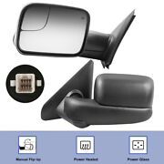 Pair Power Heated Tow Mirrors For 2002-2008 Dodge Ram 1500 2003-2009 2500 3500