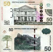 Suriname 50 Dollars Banknote World Paper Money Currency Unc Pick P165b 2012 Bill