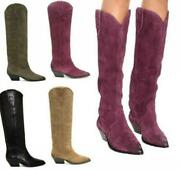 Europe Womens Western Suede Leather Pull On Cowboy Knee High Boots Vintage Shoes