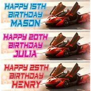 2 Personalised Fast Car Birthday Banners Party Celebration Decoration Posters