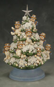 Ceramic Bisque Hand-painted Snowman Tree W/electric Kit, Lights And Star