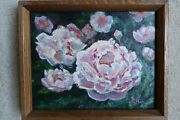 Two Original Oil On Canvas Paintings Of Flowers 8 X 10
