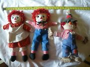 Antique Raggedy Ann And Andy And Scarecrow Dolls