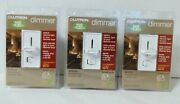 3 White Slide Dimmer Switches - Lutron Single Pole 600w Incandescent Halogen