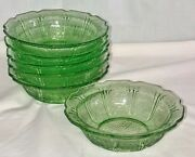 6 Jeannette Cherry Blossom Green 5 3/4 Cereal Bowls