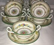 5 Minton Stanwood Flowers 4 1/2 Cream Soup Plates And Liner Plates