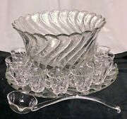 Awesome Fostoria Colony Crystal 19 Pc Huge Punch Bowl Set Hard To Find