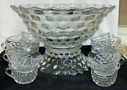 Fostoria American Crystal 14 Pc - 14 Flared Punch Bowl Set W/4 Low Foot
