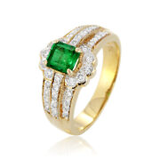 0.77ct Emerald Diamond Ring 18k Yellow Gold Jewelry Authentic Ornament Vintage