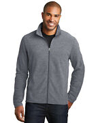 Port Authority Menand039s Long Sleeve Coil Heather Microfleece Full Zip Jacket. F235