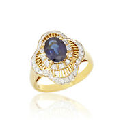 1.68cts Sapphire Ring Diamond Jewelry Authentic 18k Yellow Gold Vintage Ornament