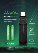 Anvow Smart Aaaa Battery Charger With 2 Counts Rechargeable Aaaa Batteries - Ni-