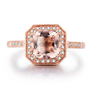 Solid 10k Rose Gold Morganite Cushion Diamonds Fine Antique/vintage Jewelry Ring