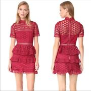 Self Portrait Us 4 It 40 High Neck Star Red Lace Tiered Layered A Line Dress