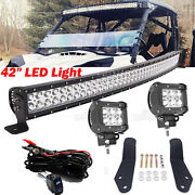 Fit Can-am Maverick Commander Curved Led Bar 40and039and039 Roof Mount Kit+18w Aux Lights