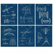 Vintage Star Wars Vessels Vehicles Wall Art Poster, 6 Photos 8x10