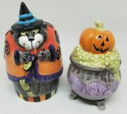 Fitz And Floyd Kitty Witches Salt And Pepper Shakers Halloween Cat Pumpkin