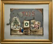 40s/50s Watercolor Painting Christmas Tree Toys Store Elephant Fine Gold Frame