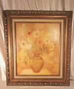 Large Mid Century Carved Wood Framed Painting29x33 Holds 20x24 Molding 4 1/ 2