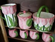 Vintage Asia Master Group Tulip Tea Set Pink W/green Handles And Spout . Easter