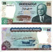 Tunisia 20 Dinar Banknote World Paper Money Unc Currency Pick P77 1980 Bill Note