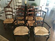 French Country Farmhouse Ladderback Dining Rush Seat Chairs From Marie Albert