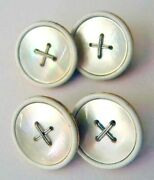 Vintage 18k Gold Mother Of Pearl And White Enamel Cufflinks 18 Karat Cuff Buttons