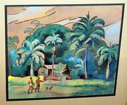 And03940s Hawaii Ink And Wc Painting Men And Dogs By Robert L. Eskridge 1891-1975beg