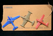 Vintage 1950s Wolverine Tin Aircraft Carrier Plastic Planes New On Original Card