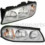 Fits Chevy Impala 2000-2005 Headlights Assembly Pair Replacement Headlamp Clear